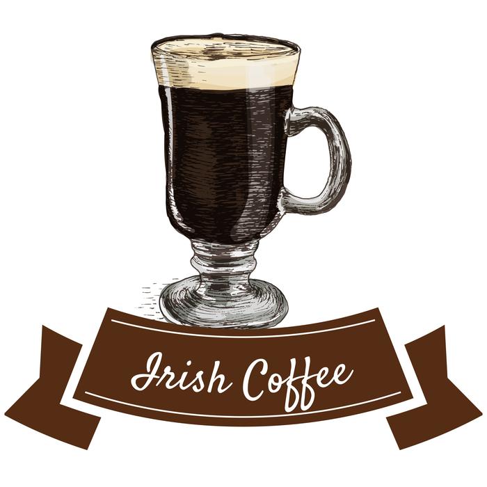 "Irish coffee in a glass mug with a banner that reads ""Irish Coffee"""