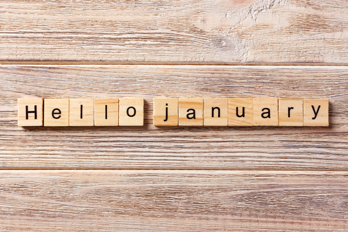 "Scrabble tiles that read ""hello January""."