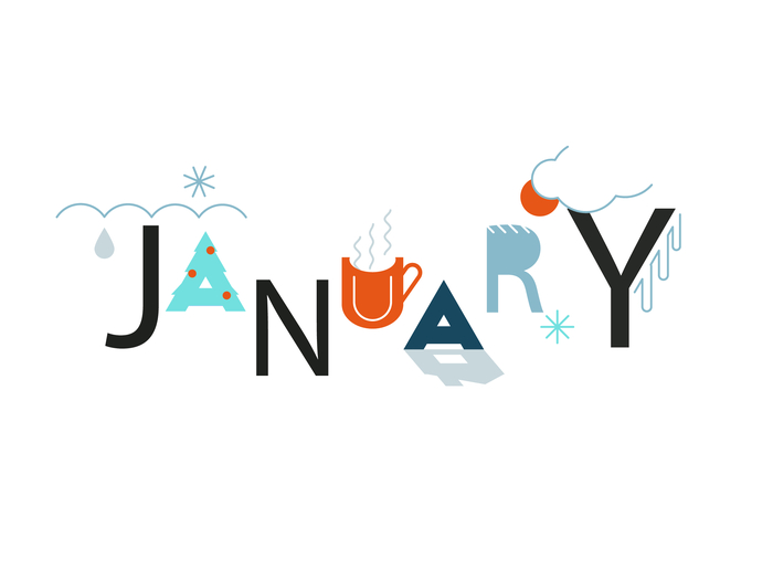 """The word """"January"""" in cartoon letters resembling the national days in January."""
