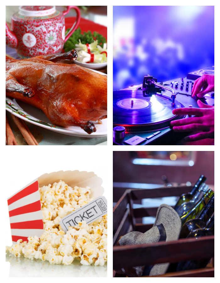 National Days of January celebrate - Peking duck, disc jockey, popcorn and ticket and bootlegger basket.