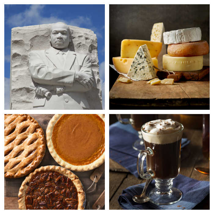 Martin Luther statue, cheese stack., pies and iced coffee in a collage.