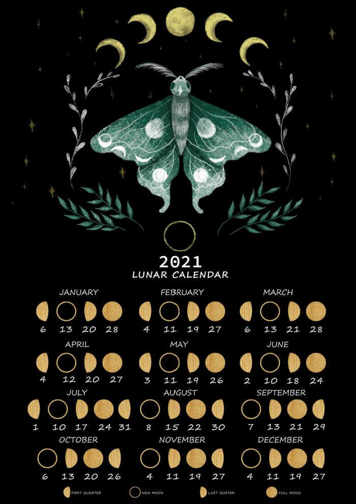 Lunar calendar for 2021 with moth.