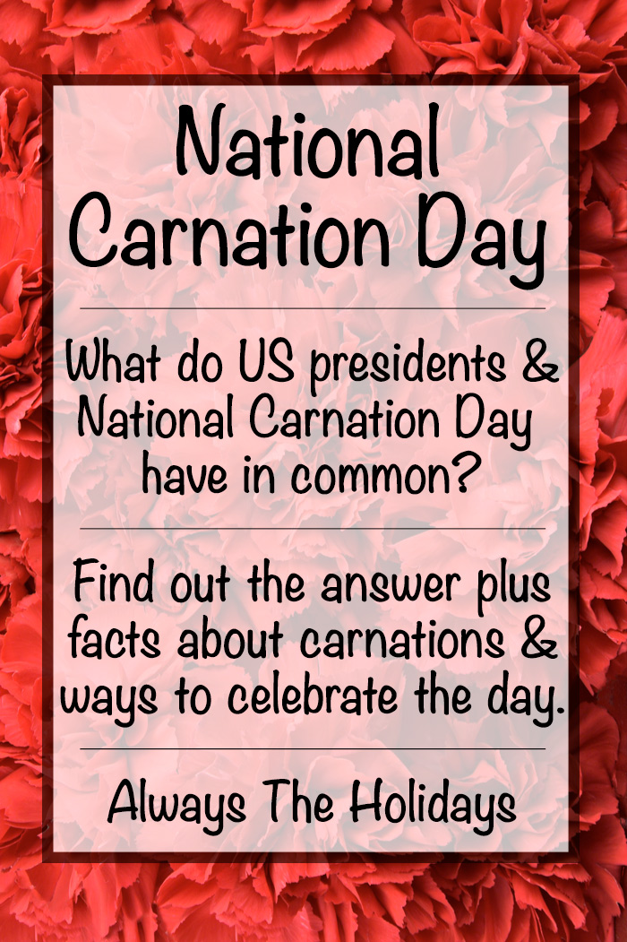 A photo of red carnations with a text overlay about National Carnation Day and carnation facts.