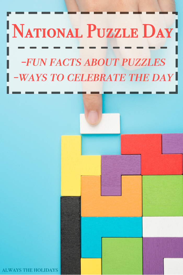 "A rainbow block puzzle with a text overlay that reads ""National Puzzle Day jigsaw puzzle facts and ways to celebrate the day""."