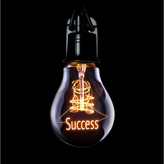 "A lightbulb that reads ""success"" shining for someone who found the best New Year's resolution."