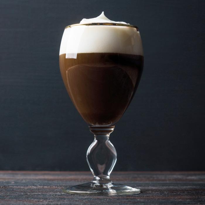 Irish coffee in the original Irish coffee glass.