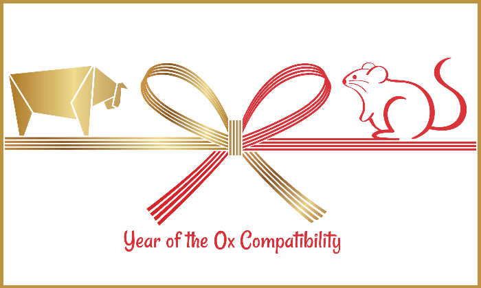 Year of the Ox compatibility text under image of ox and rat.