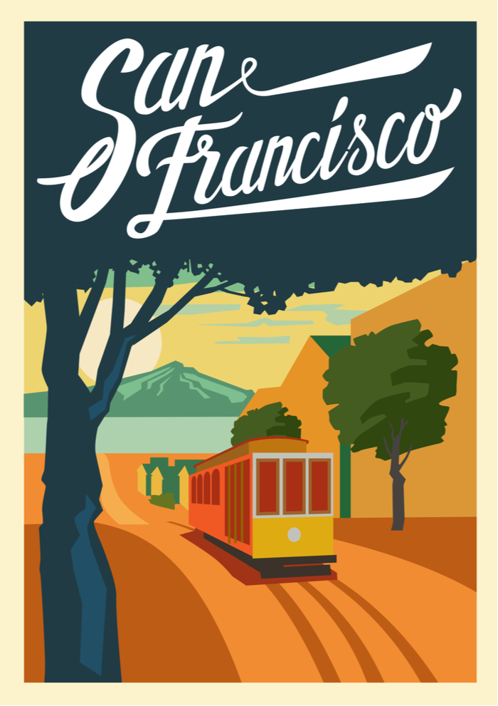 An art print of San Fransisco, California.
