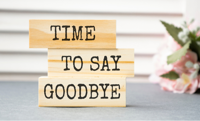 """Blocks that read """"Time To Say Goodbye"""" on a counter to celebrate Ditch New Year's Resolutions Day""""."""