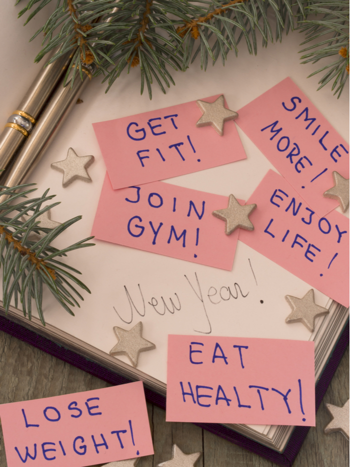 Post it notes with the top New Year's resolution on them.