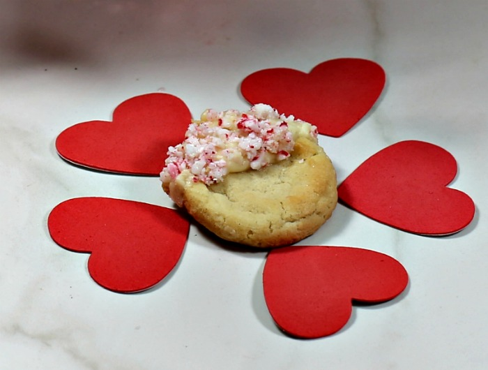hearts around a peppermint cookie.