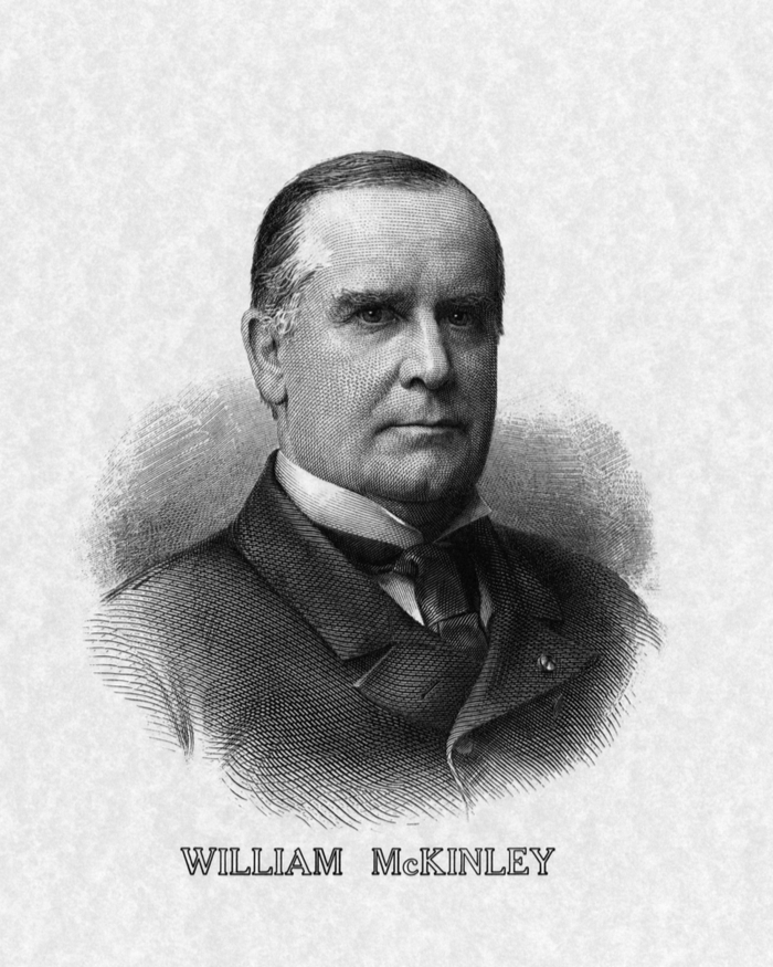Black and white photo of 25th president of the United States, William McKinley to remember him on National Carnation Day.