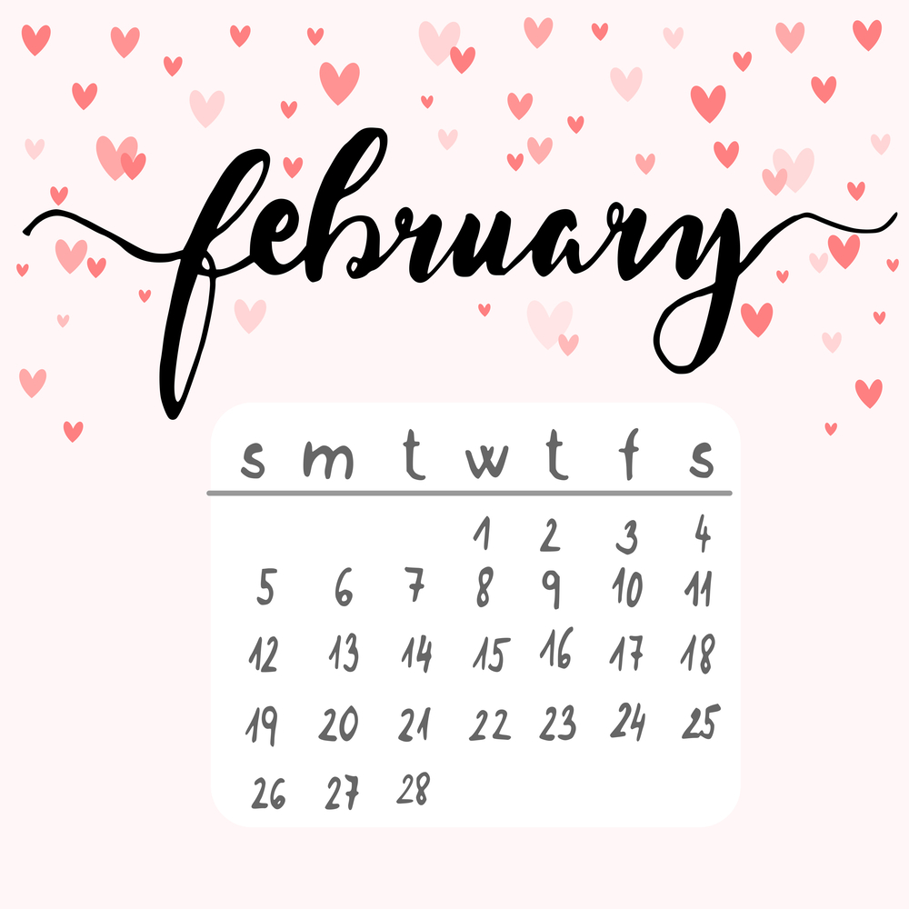 A February calendar of national days surrounded by hearts.