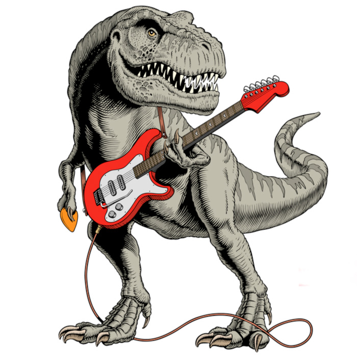 Dinosaur playing the electric guitar