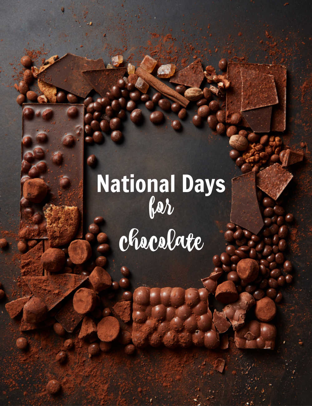 Different types of chocolate in a square with words reading National Days for Chocolate.