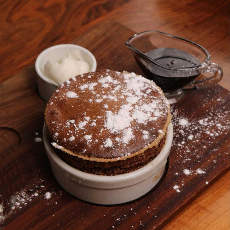 Chocolate soufflé with cream
