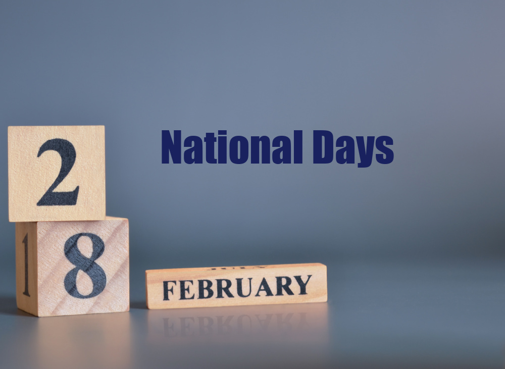 Blocks on a blue background with date 28 February and text National Days.