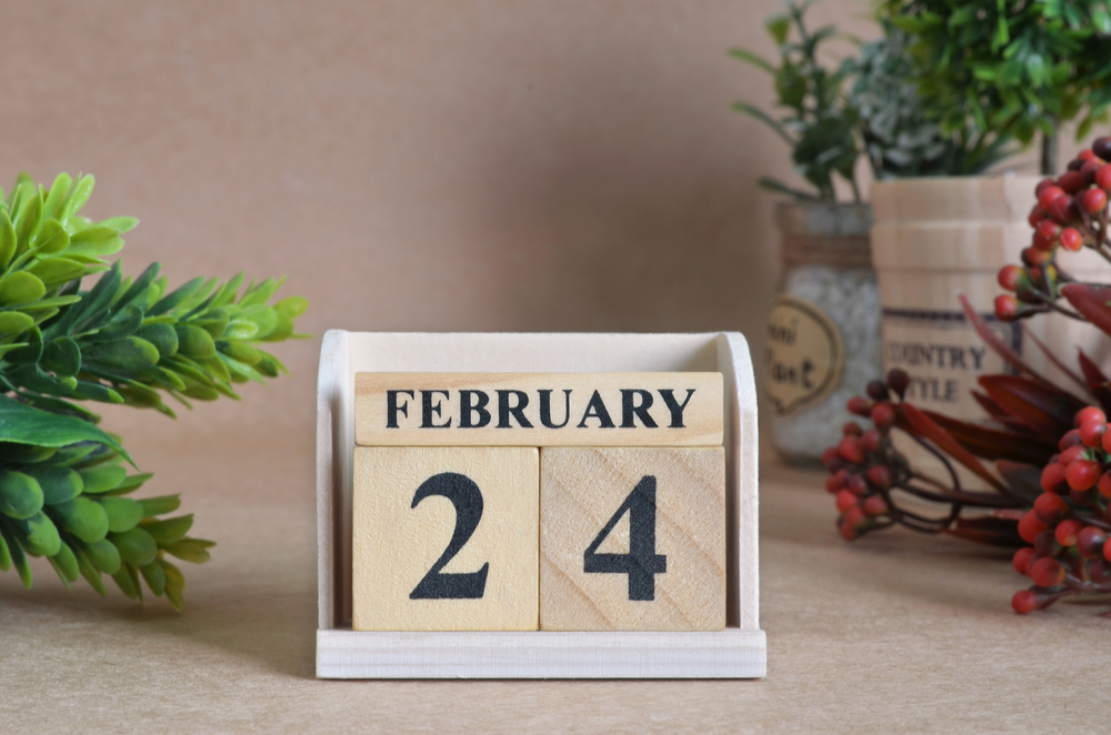 "Blocks that read ""February 24"" to celebrate the February 24 national days."