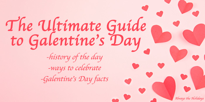 "A pink background with hearts and a text overlay that reads ""The Ultimate Guide to Galentine's Day."""
