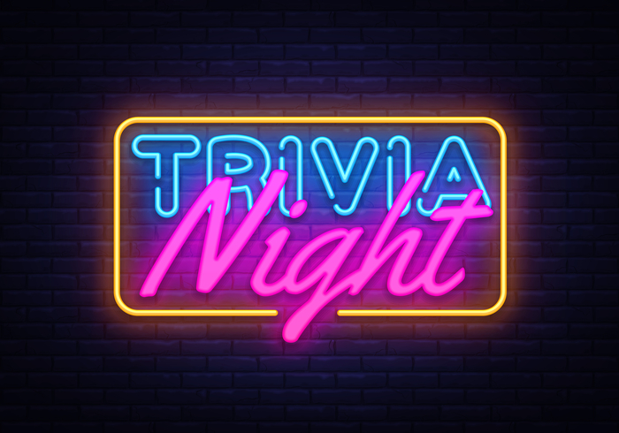 "A neon sign that reads ""trivia night"" to celebrate historical trivia in February."