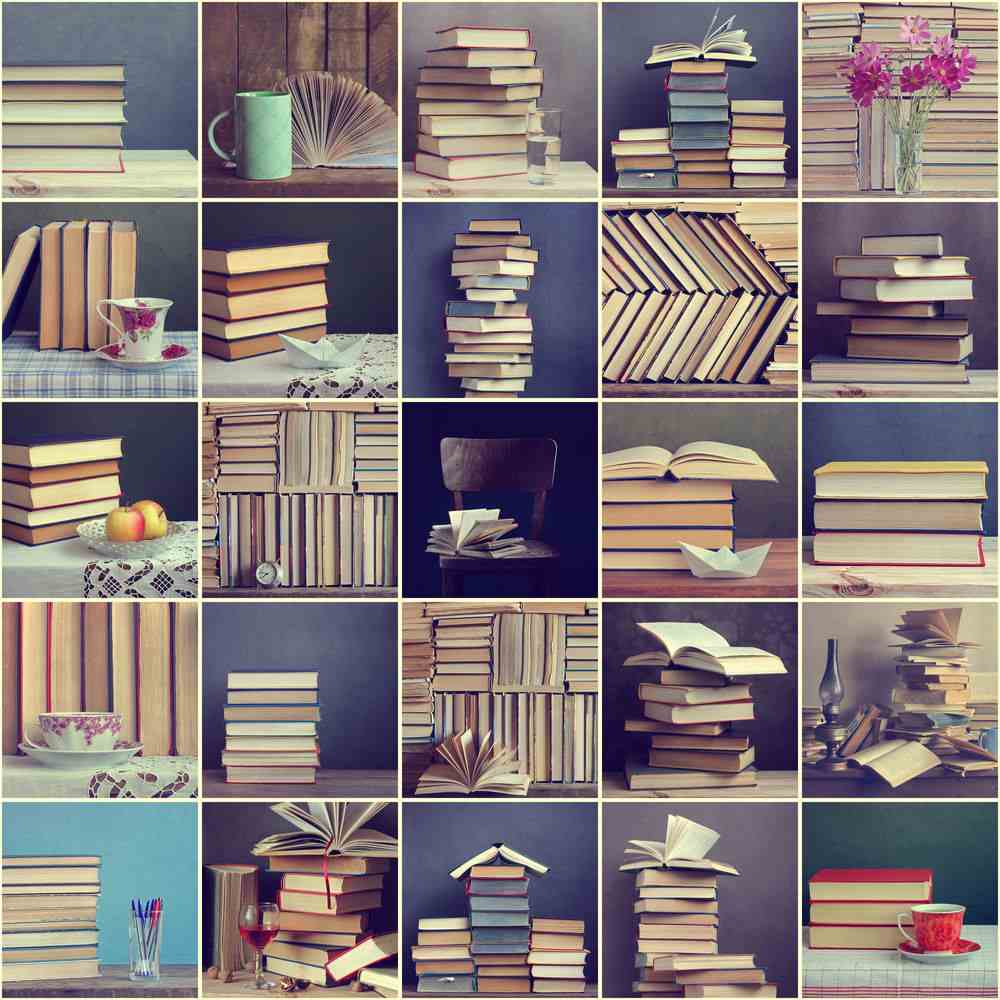 A collage of twenty five different book stacks as suggestions for how to organize books in different ways.