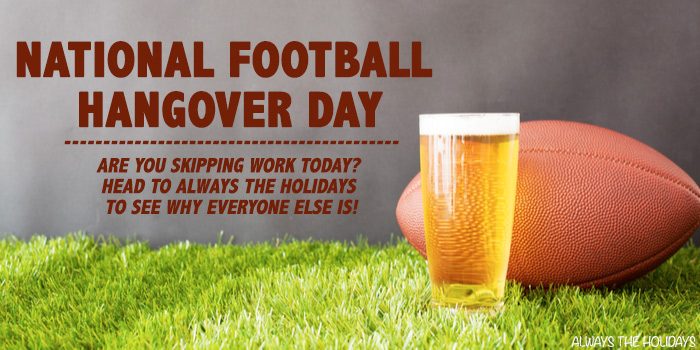 A beer and football on grass with a text overlay for National Football Hangover Day.