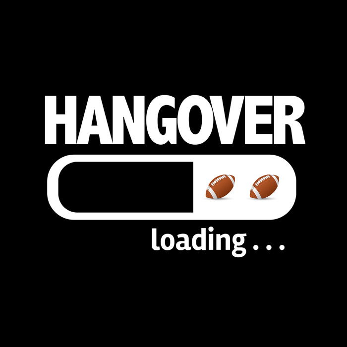 "A ""hangover loading"" graphic for National Football Hangover Day."
