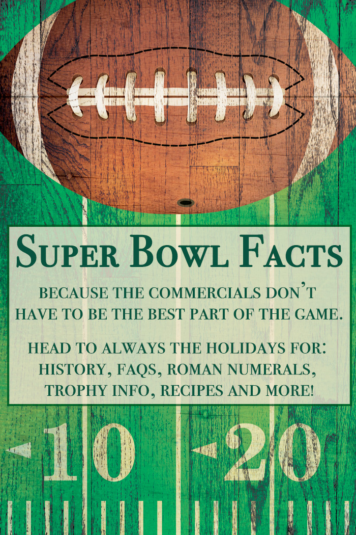 A wooden board with a football football field on it with a text overlay about Super Bowl facts.