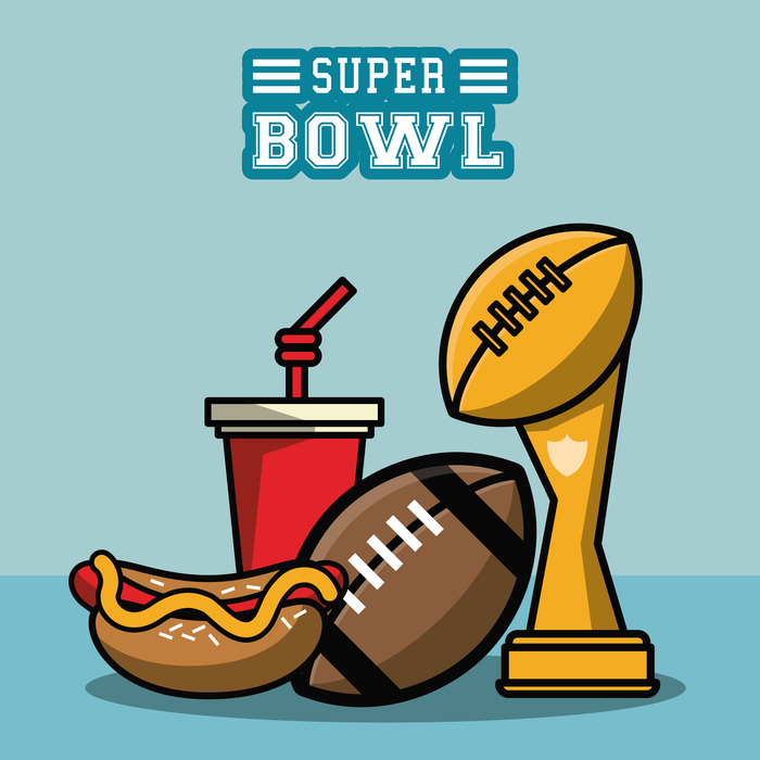 Super Bowl party food, the Vince Lombardi Trophy and a Super Bowl text overlay.