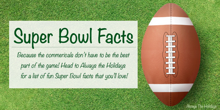 A football on a field with a text overlay about Super Bowl Facts.