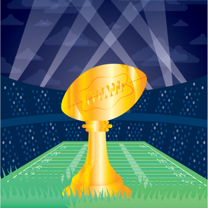 A golden graphic of the Vince Lombardi Trophy (in a stadium) which is given out at the Super Bowl.