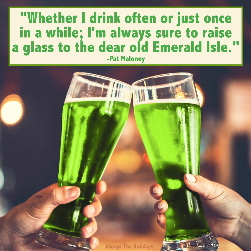 Two green beers in a cheers, with a St Patrick Day quotes text overlay.