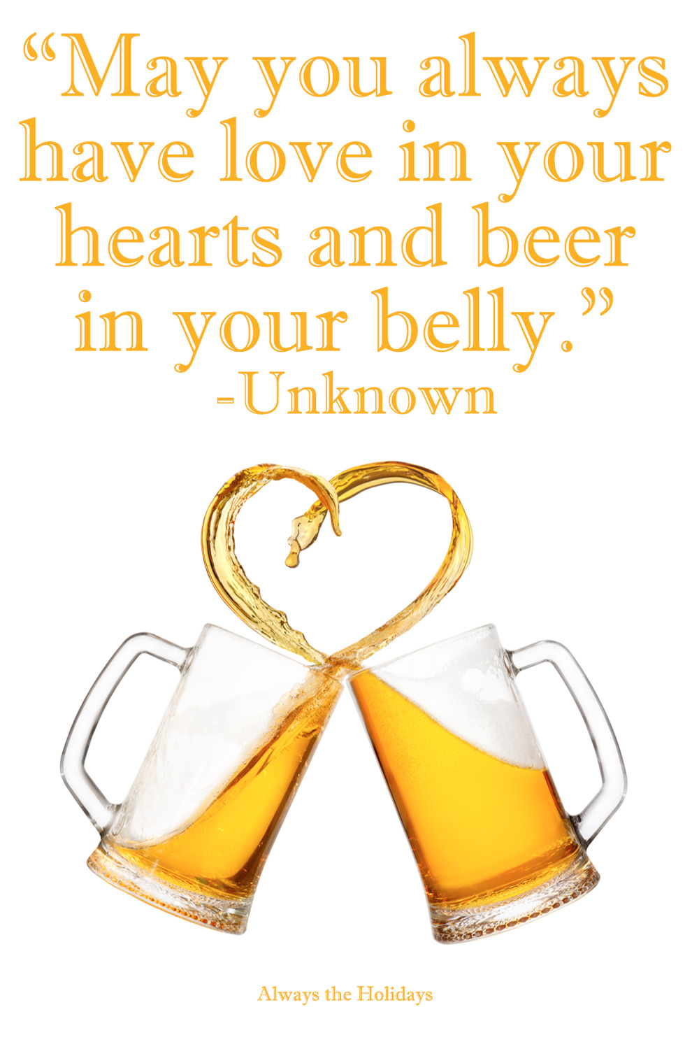 Beer splashing out of two mugs as they clink and forming a heart with a Saint Patrick quotes text overlay.