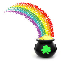 A rainbow of four leaf clovers leading to a pot of gold.