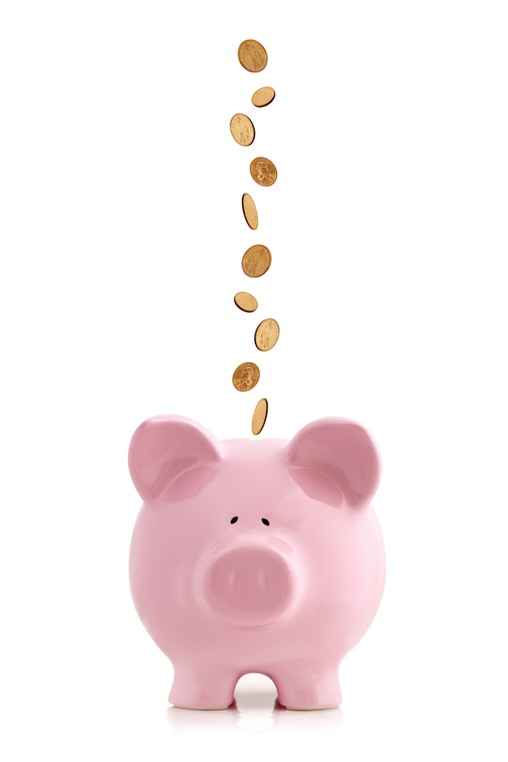 A pink piggy bank with lucky gold coins dropping into it.