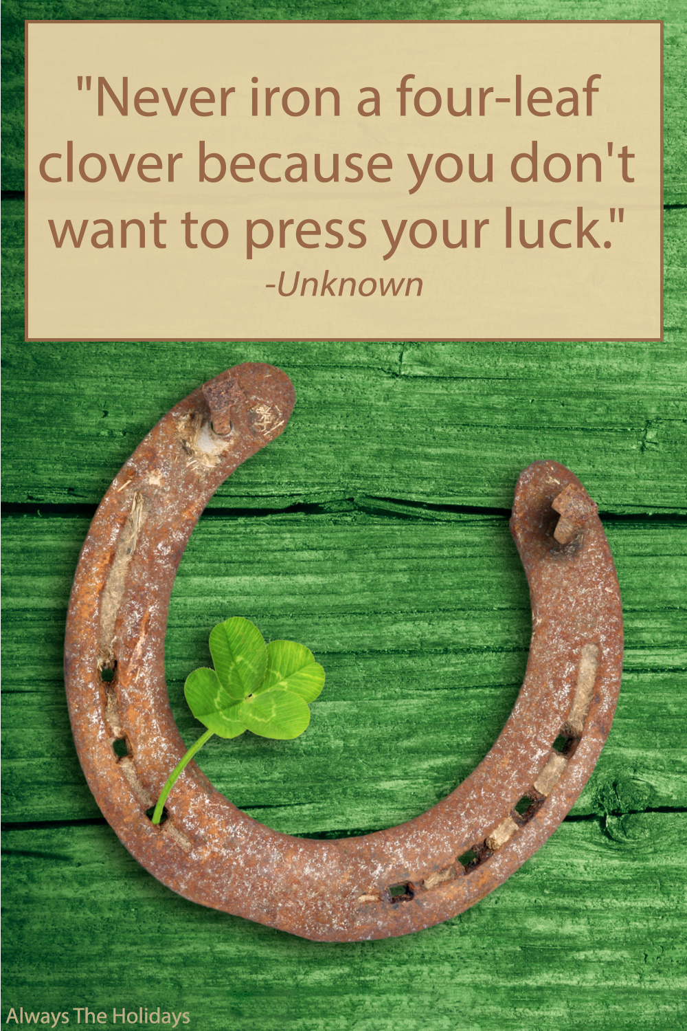 A horseshoe and clover on a green table with a St Patricks Day sayings text overlay.