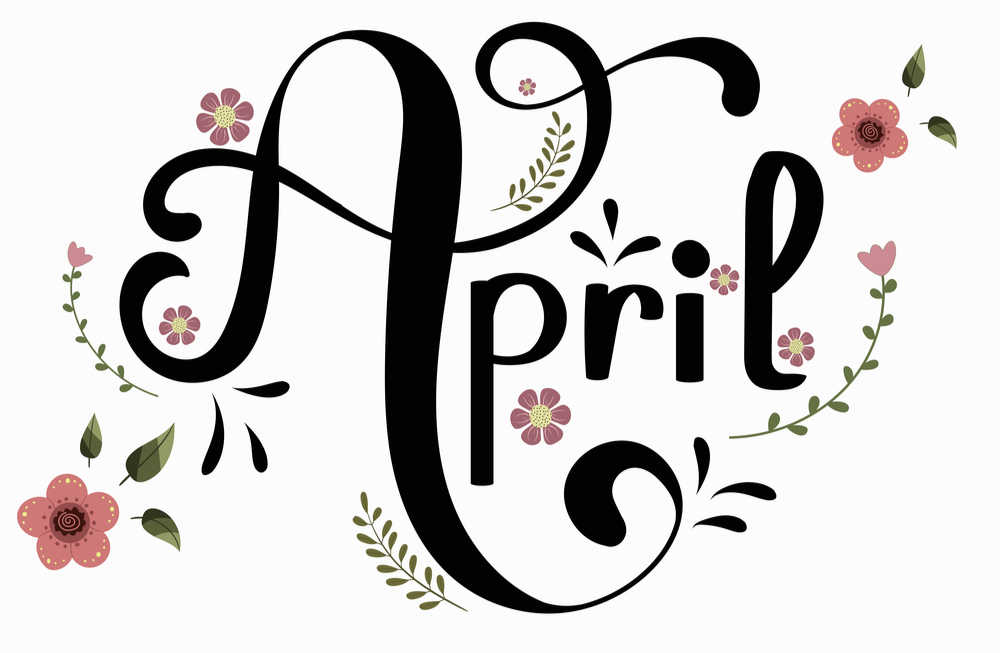 Calligraphy lettering of the word April surrounded by flowers.