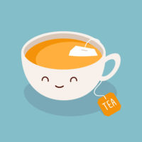 A cute cartoon cup of tea against a plain blue background