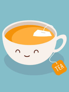 A cute cartoon cup of tea against a plain blue background