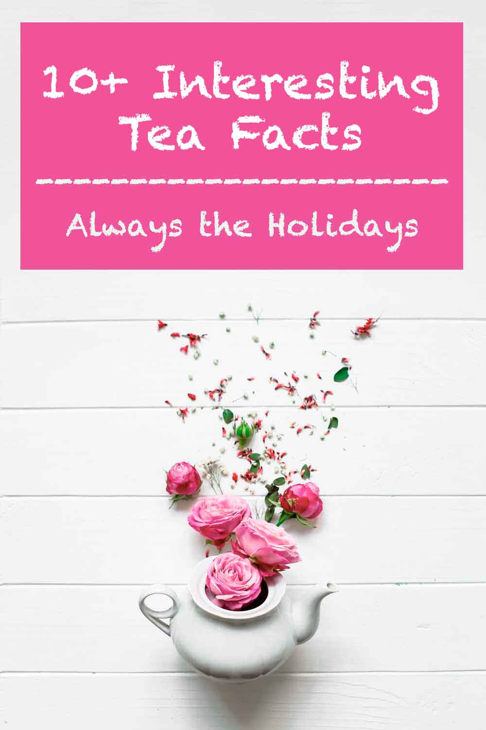 "A white teapot on a white background spilling pink roses upwards with text above it that reads ""10+ interesting tea facts""."