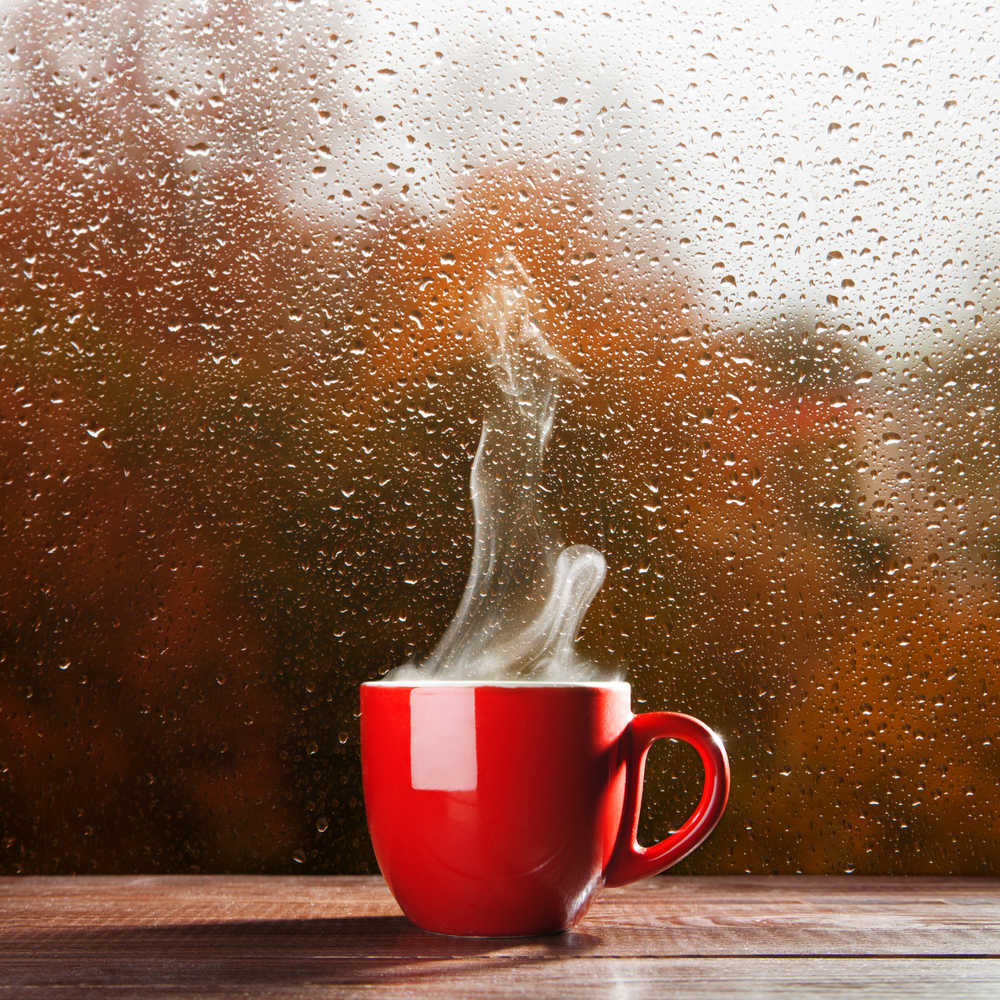 A red cup of tea producing steam against a rainy window on National British Tea Day.