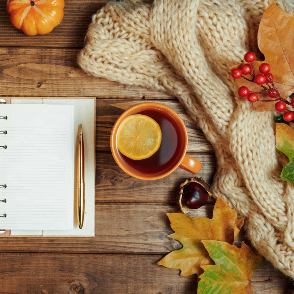 A cup of tea next to a planner surrounded by a blanket and fall foliage.