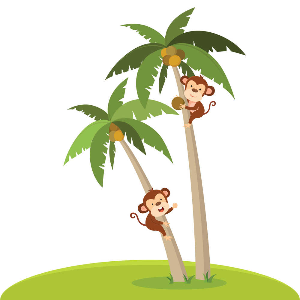 Two clipart monkeys climbing coconut trees.