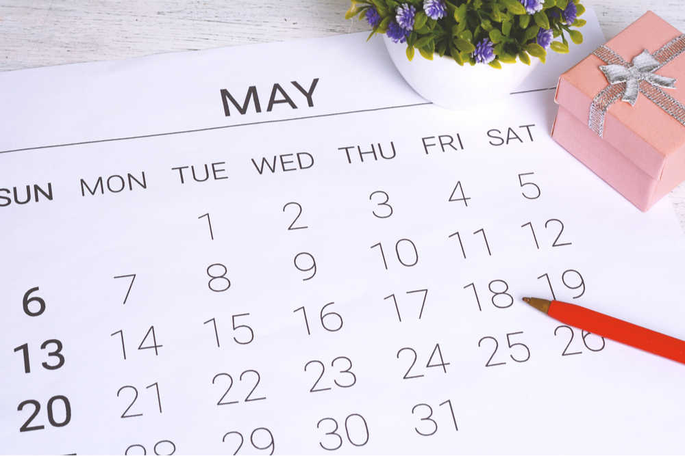 Close up shot of a May calendar with a plant in the top right corner and a red pen in the bottom right corner.
