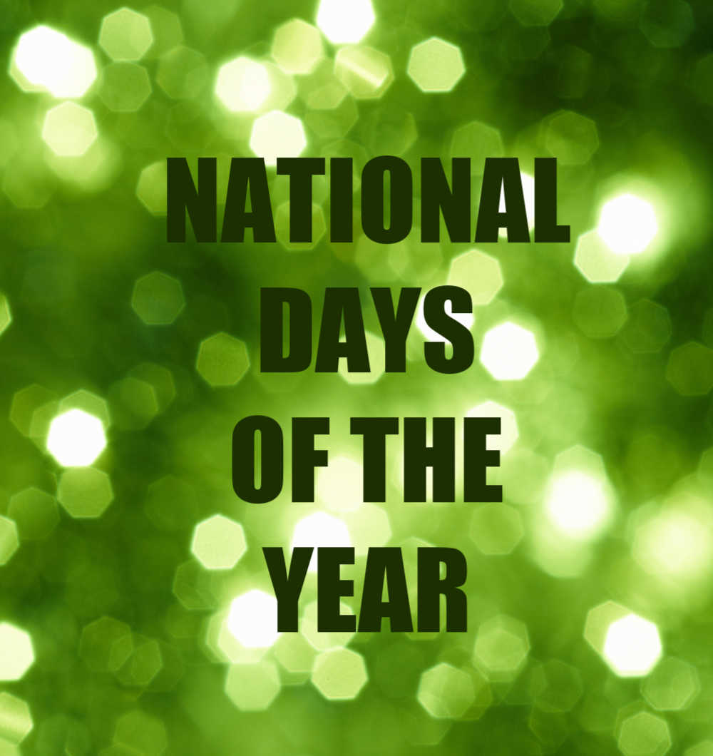 Green bokeh background with words National Days of the Year.