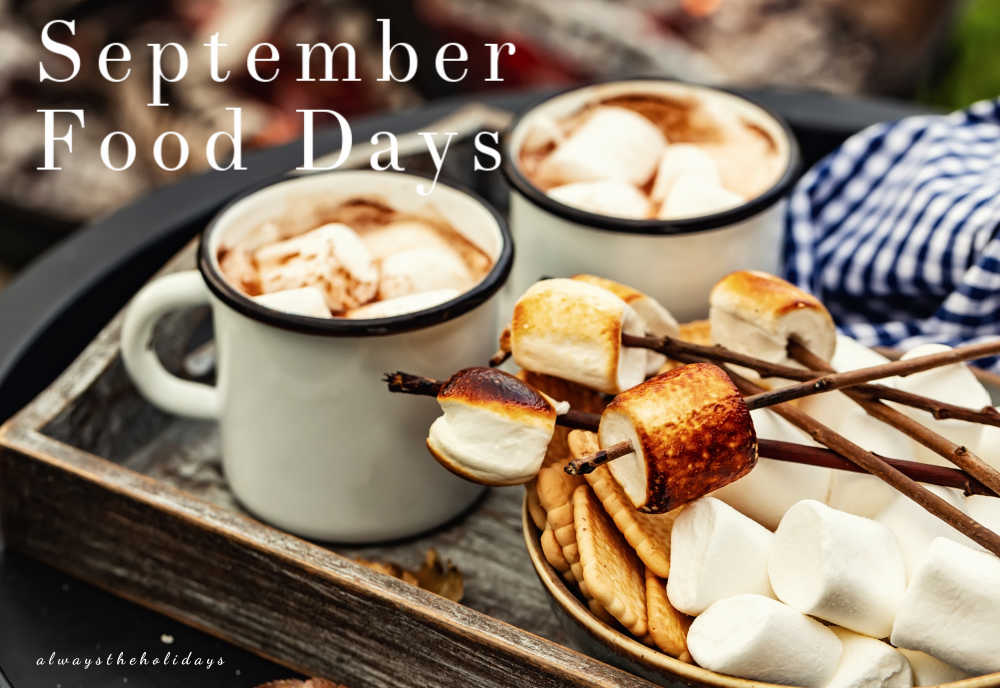 Hot chocolate and toasted marshmallows with words September Food Days.