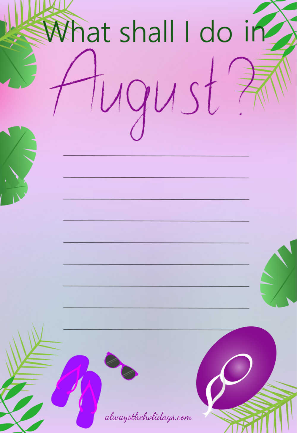 Planning page with words What shall I do in August?