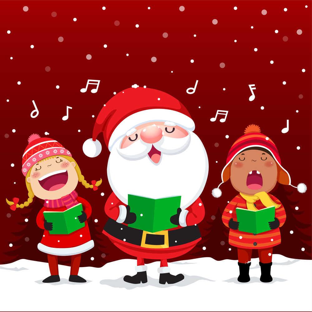 Cartoon carolers singing Christmas music.