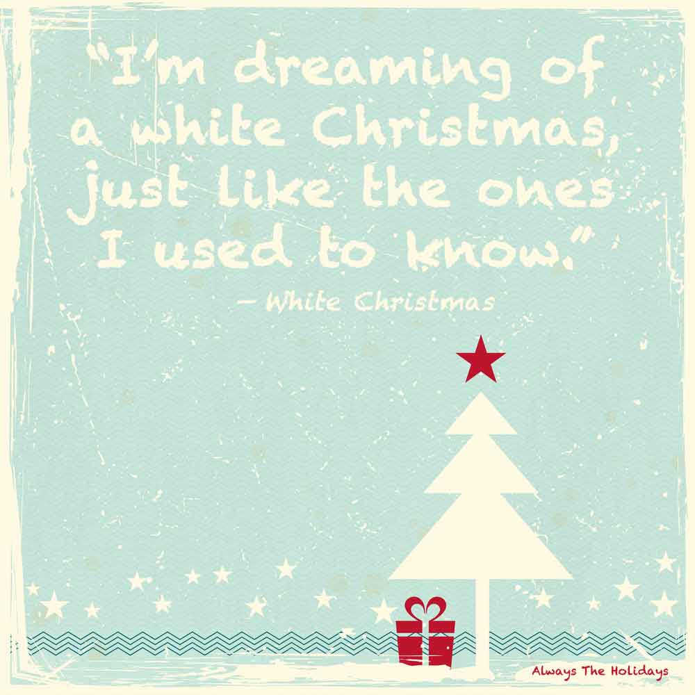 A vintage blue background with a white Christmas tree with a red present under it and a text overlay of quotes from Christmas songs on it.