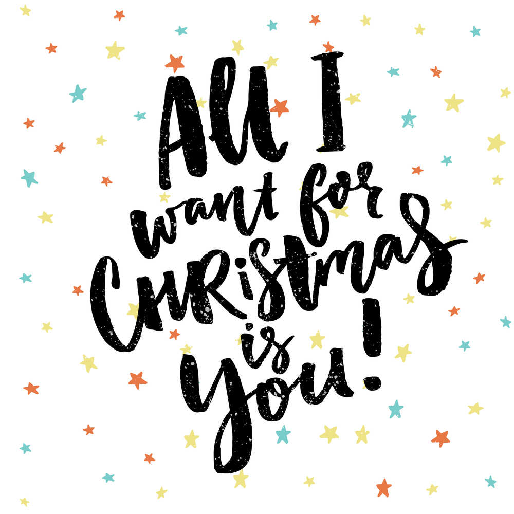 All I want for Christmas is you quote on a polka dotted white background.